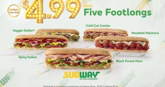 Five Dollar Footlongs Return To Subway With 4 99 Price
