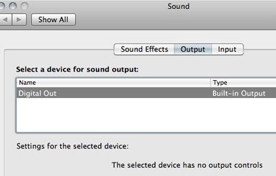 No audio output devices found except digital audio out
