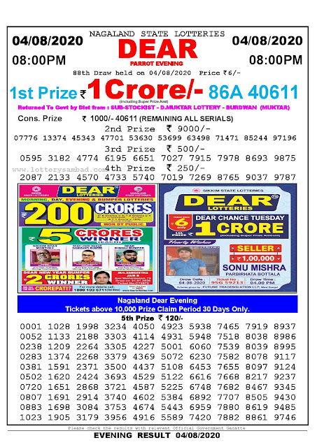 Nagaland State Lotteries 04-08-2020 Lottery Sambad Result 8:00 PM