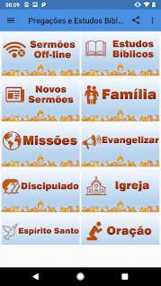 tela inicial do aplicativo pregações