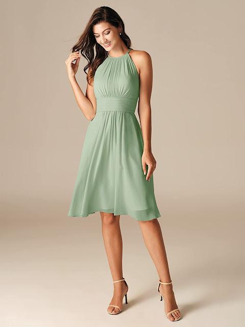 Short Sage Green Chiffon Bridesmaid Dresses