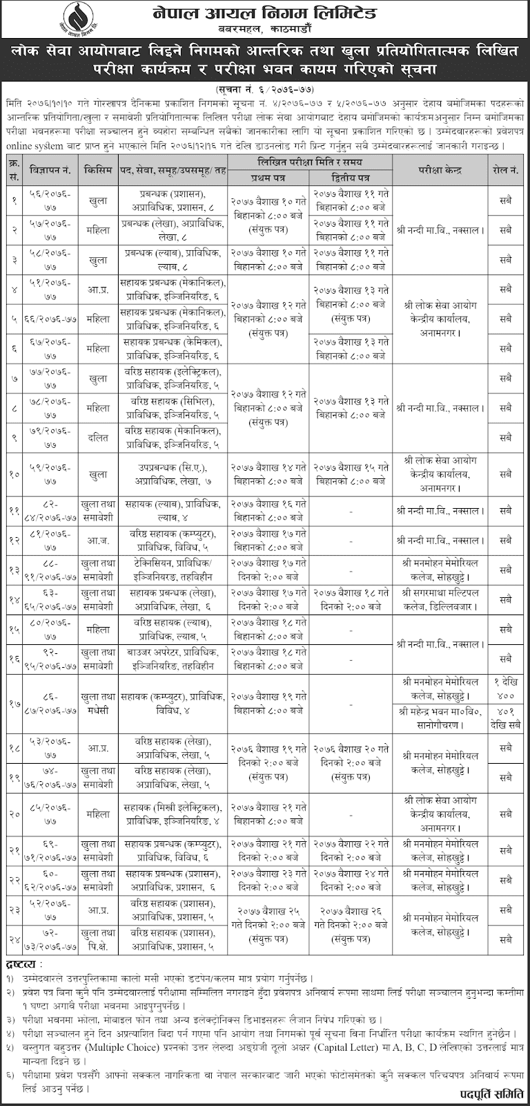 Nepal Oil Corporation Written Exam Routine and Center