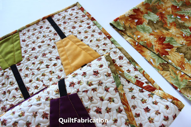 closeup of quilting and binding fabric