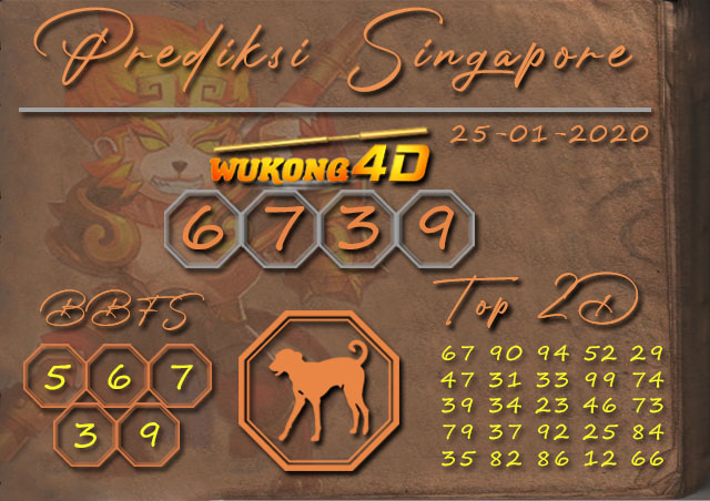 Prediksi Togel SINGAPORE WUKONG4D 25 JANUARI 2020