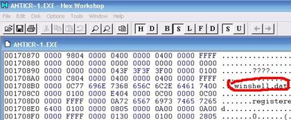 Gambar 1. Posisi winshell.dat pada program body AntiCrash.exe