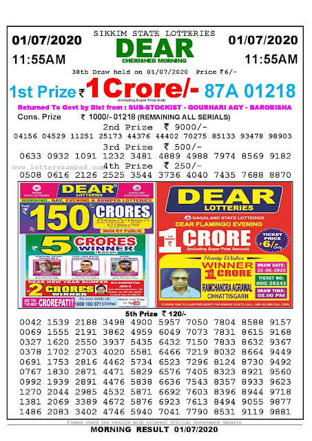 Sikkim State Lotteries 01-07-2020 Lottery Sambad Result 1155 AM