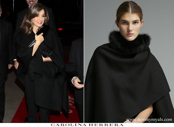 Queen Letizia wore Carolina Herrera fux fur collar cape