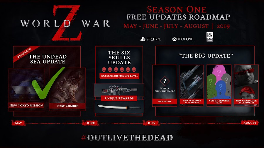 world war z season one dlc content updated roadmap saber interactive ps4 xb1