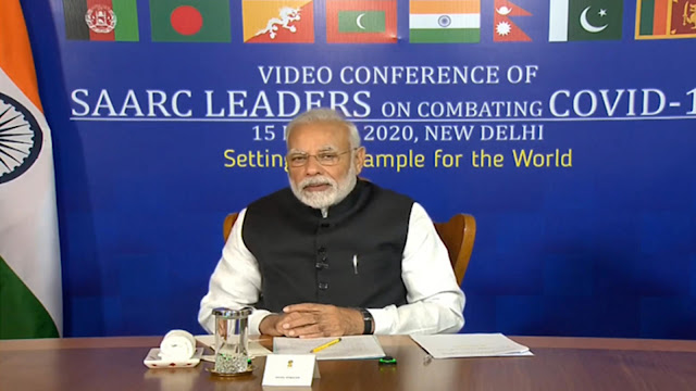 Image Attribute: On March 15, 2020, Prime Minister Modi led a video conference of SAARC leaders. Member nations start work on a regional strategy to tackle coronavirus/COVID-19. | Source: A screengrab taken from PIB's  Official Youtube Channel
