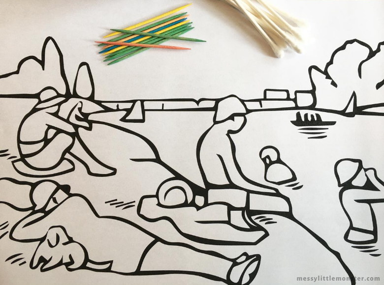 Georges Seurat pointillism for kids