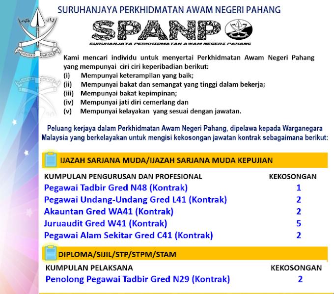 Jawatan Kosong di Suruhanjaya Perkhidmatan Awam Negeri Pahang (SPANP).