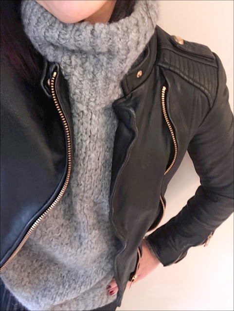My Midlife Fashion, zara chunky knit poloneck jumper, zara leather biker jacket, hm pleated midi skirt, boden studded flat shoes
