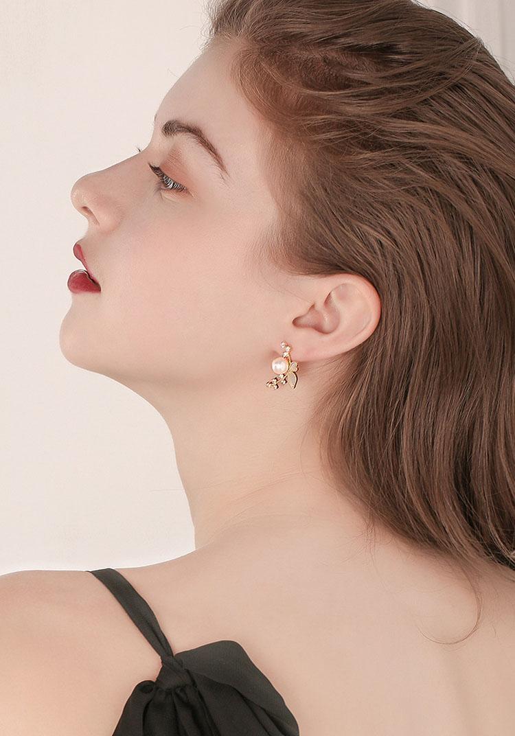 唯美花舞擬珍珠水鑽耳環
