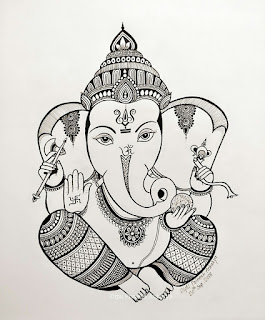 Ganpati Pencil Sketch Image
