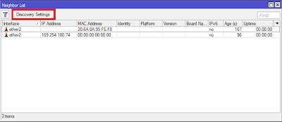 masuk menu ip > neighbor > discovery settings