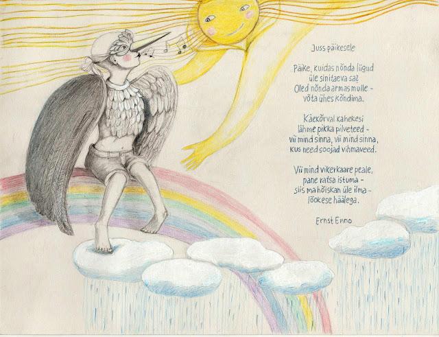 Aide Leit-Lepmets art illustration poetry #sun #rain #poetry #illustration #birdmask