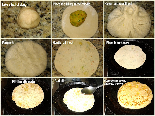 images of  Vegetable  Paratha / Mixed Vegetable Paratha / Stuffed Vegetable Paratha / Vegetable Stuffed Paratha