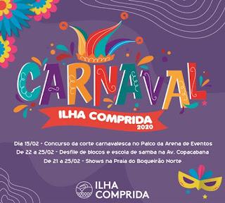 Estão abertas as inscrições para eleição da Corte Carnavalesca da Ilha Comprida