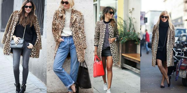 Looks com casaco leopardo - look1: skinny jeans cinza, botins rasos pretos, camisola de malha preta, mala preta a tiracolo. look2: jeans azuis, mocassins pretos, camisola de malha branca e mala de mão preta. look3: saia de pele preta, ténis brancos, camisola riscas preto e branco e mala de mão vermelha. look4: saia e camisola pretas, sabrinas pretas e mini mala a tiracolo preta.