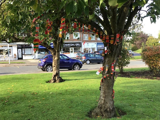 Image of artwork on trees courtesy of Brookmans Park Primary School