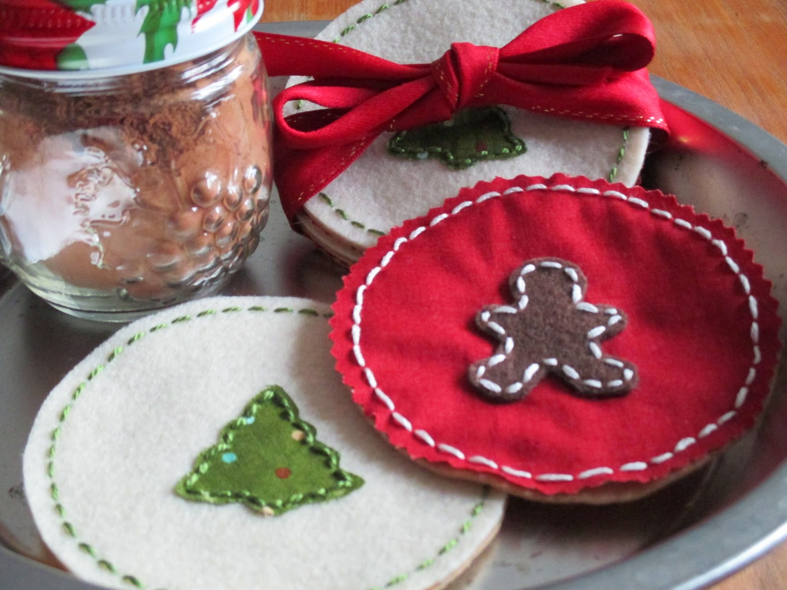 handmade holiday christmas drink coasters