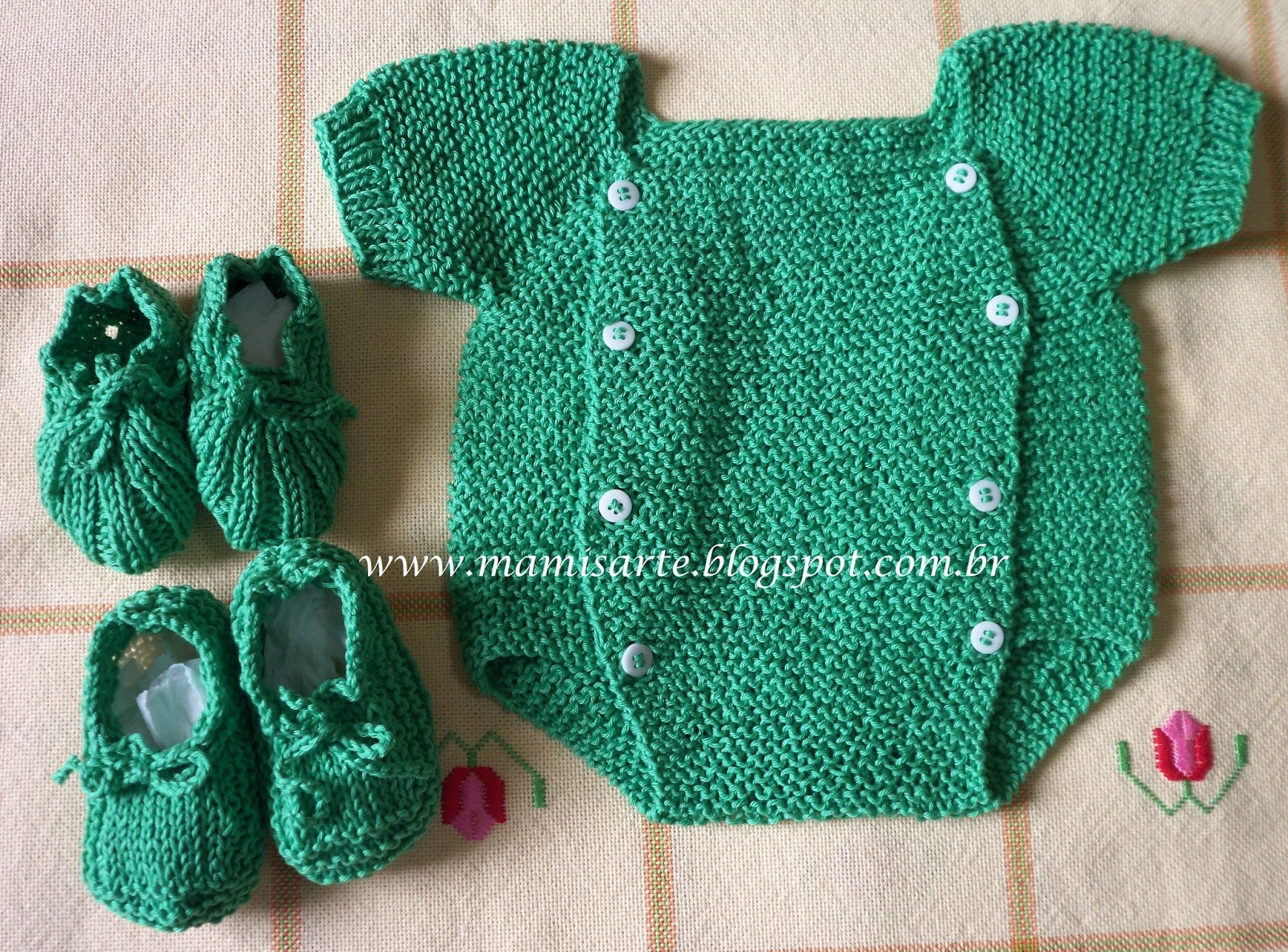 da69bb8a64e4d Crochet et Tricot da Mamis  Top Bebê com Mangas Curtas em Tricot ...