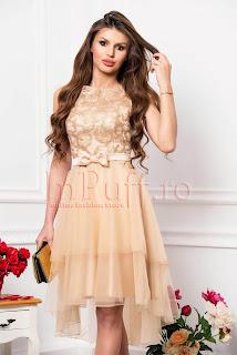 Rochie de lux nude beige cu fusta din tul asimetrica funda si bust brodat 7