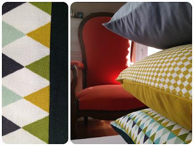 trois coussins motifs géométriques Linna Morata
