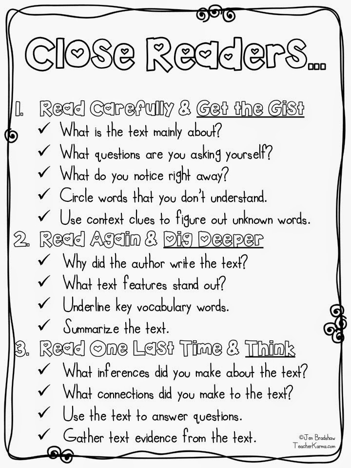 Teacher Karma: CLOSE Reading ~ FREE Resources
