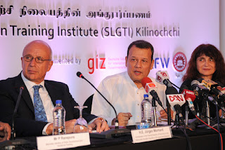 H.E. Jürgen Morhard (Ambassador of the Federal Republic of Germany to Sri Lanka and Maldives), Hon Mahinda Samarasinghe (Minister of Skills Development and Vocational Training), Randa Kourieh-Ranarivelo (Country Director, GIZ Sri Lanka and Maldives)