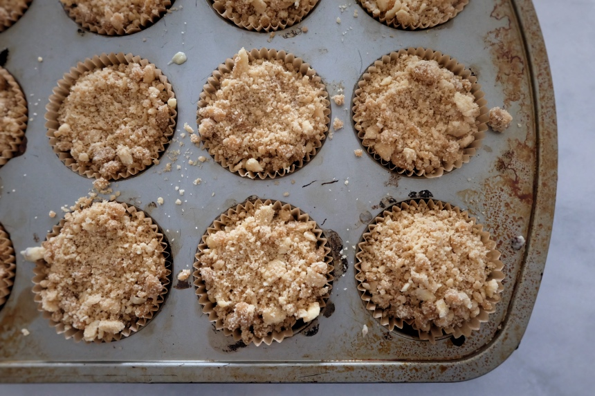 crumb topping added atop batter