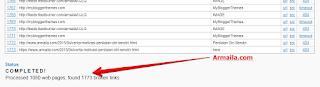 Cek Broken Link Armaila, Hasilnya Processed 1080 Web Pages, Found 1773 Broken Links