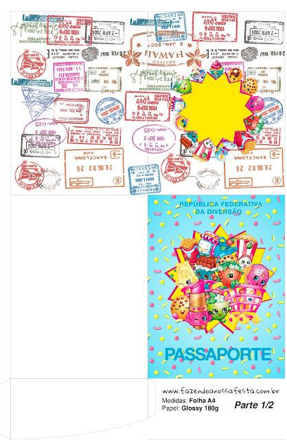 Imprimible con forma de Pasaporte de Shopkins.