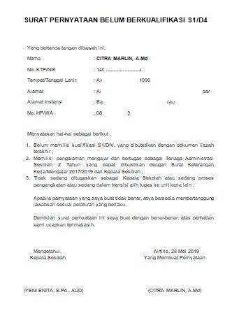 Contoh Format Surat Pernyataan Belum Berkualifikasi S1/D4