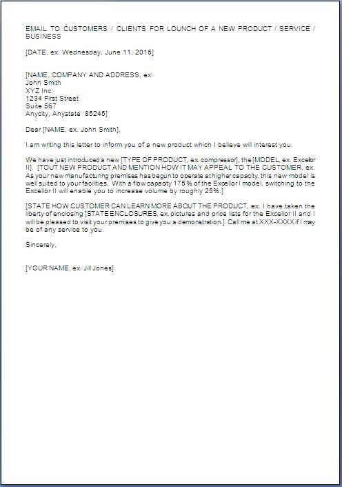 New Product Announcement Letter Format