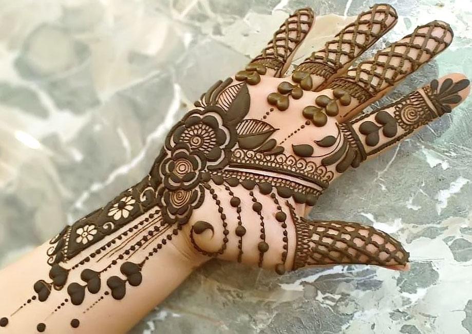 Full Front Hand Floral Mehndi Design