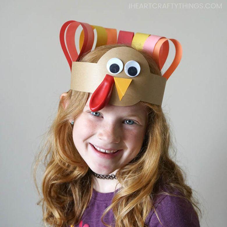 Turkey headband thanksgiving craft for kids