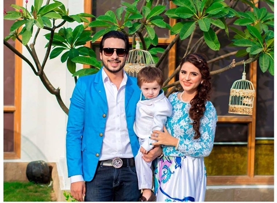 Fatima Effendi with her husband and son