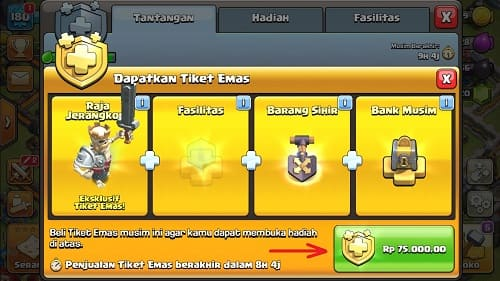 Cara Beli Gold Pass Clash of Clans Pakai GOPAY