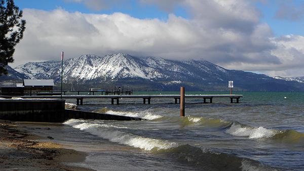 South Lake Tahoe public beach in winter