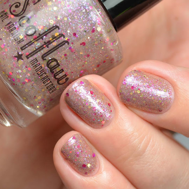 mauve jelly with holographic glitter