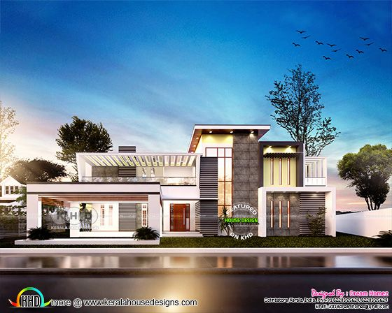 Luxurious flat roof contemporary style home plan