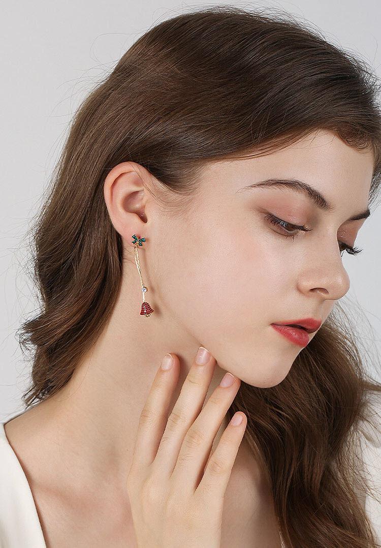 歡樂聖誕水鑽耳環