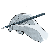 To draw, one way to hold the pencil is the writer's grip.