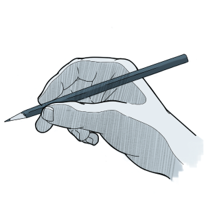 One way to hold the pencil, with the pencil resting on the hand between the thumb and index finger.