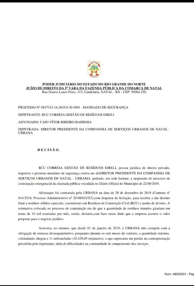 """EXCLUSIVO: JUIZ PÕE """"FREIO"""" NA FARRA DA URBANA"""