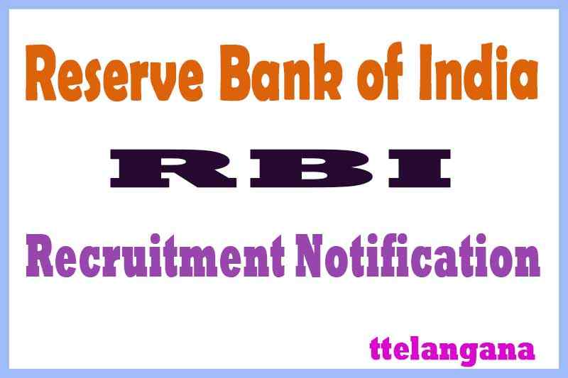 RBI Reserve Bank of India Recruitment Notification