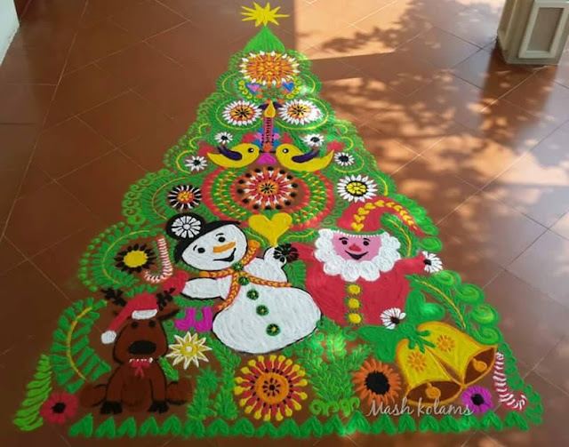 Christmas Tree Rangoli Design