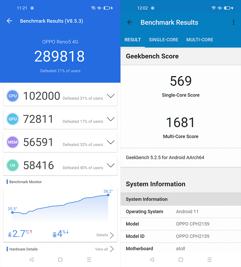 AnTuTu and GeekBench benchmark results