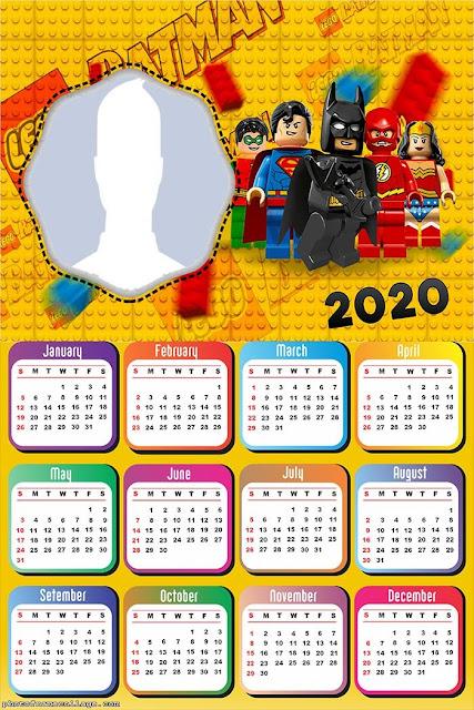 Batman Lego: Calendario 2020 para Imprimir Gratis